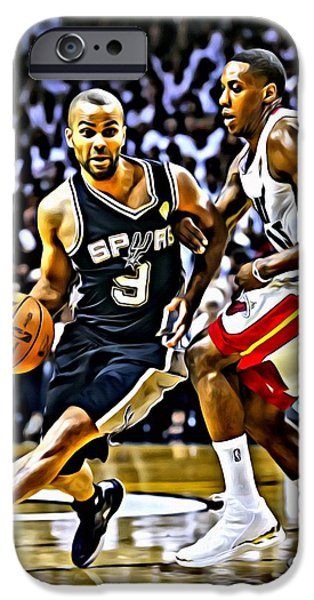 Slam Photographs iPhone Cases - Tony Parker Painting iPhone Case by Florian Rodarte