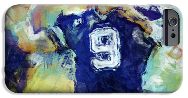 Romo iPhone Cases - Tony Romo Abstract 1 iPhone Case by David G Paul