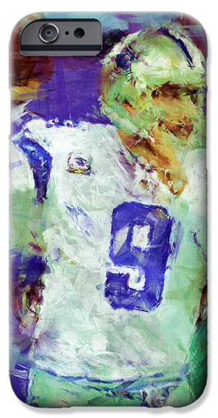 Romo iPhone Cases - Tony Romo Abstract 2 iPhone Case by David G Paul