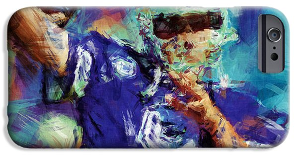 Romo iPhone Cases - Tony Romo Abstract 3 iPhone Case by David G Paul