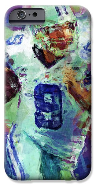 Romo iPhone Cases - Tony Romo Abstract 4 iPhone Case by David G Paul