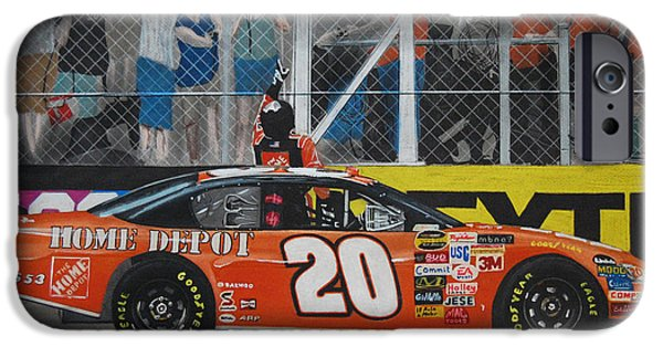 Fence Drawings iPhone Cases - Tony Stewart Climbs for the Checkered Flag iPhone Case by Paul Kuras