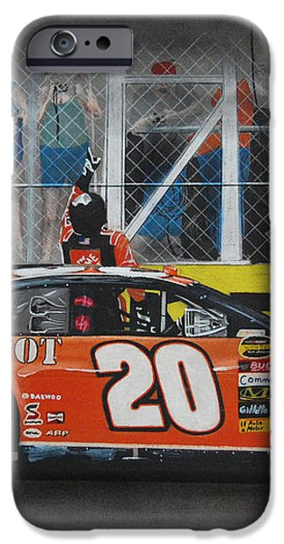 Tony Stewart Climbs for the Checkered Flag iPhone Case by Paul Kuras