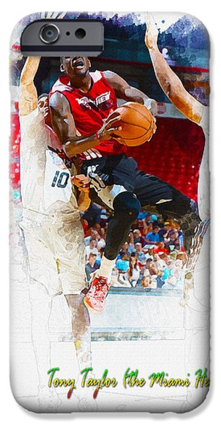 Allstar iPhone Cases - Tony Taylor of the Miami Heat iPhone Case by Don Kuing