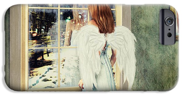 Lindalees iPhone Cases - Too Cold for Angels to Fly iPhone Case by Linda Lees