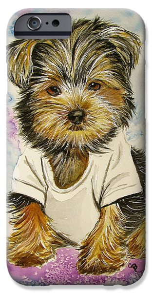 Yorkshire Terrier Watercolor iPhone Cases - Too Sexy for My Shirt iPhone Case by Carol Blackhurst