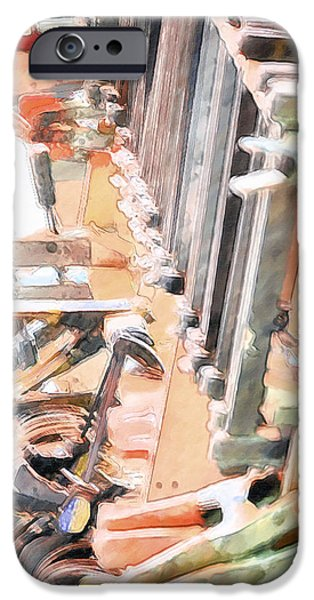 Work Tool Paintings iPhone Cases - Tools on Shelves iPhone Case by Lanjee Chee
