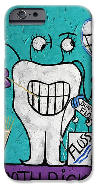 Teeth iPhone Cases - Tooth Pick Dental Art By Anthony Falbo iPhone Case by Anthony Falbo