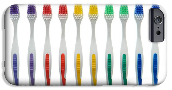 Oral iPhone Cases - Toothbrushes iPhone Case by Olivier Le Queinec