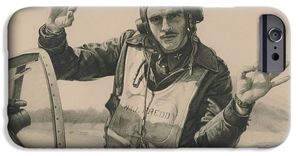 P-51 Mustang iPhone Cases - Top Mustang Ace iPhone Case by Wade Meyers