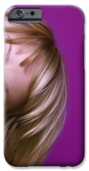 25-29 Years iPhone Cases - Top Of A Womans Head With Eyeglasses iPhone Case by Leah Bignell