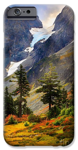 Blueberry iPhone Cases - Top of Cascade Pass iPhone Case by Inge Johnsson