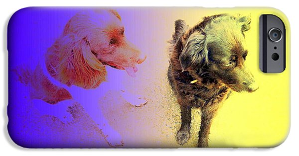 Dog In Landscape iPhone Cases - Top Of The Dogs iPhone Case by Hilde Widerberg