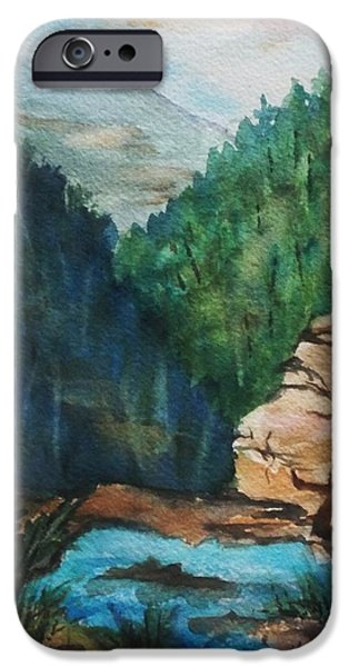 Ledge iPhone Cases - Top Of The Falls- Kaaterskill Clove iPhone Case by Ellen Levinson