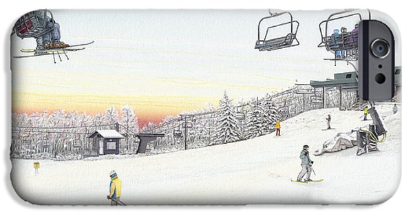 Chair Drawings iPhone Cases - Top of the Mountain at Seven Springs iPhone Case by Albert Puskaric