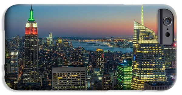 Bank Of America iPhone Cases - Top of the Rock Twilight I iPhone Case by Clarence Holmes