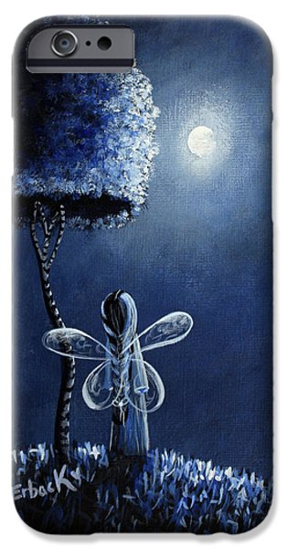Night Angel Paintings iPhone Cases - Topaz Fairy Original Artwork iPhone Case by Shawna Erback