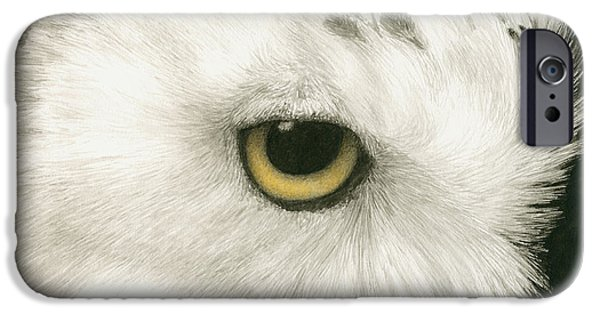 Snowy Owl iPhone Cases - Topaz in the Snow iPhone Case by Pat Erickson