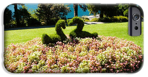 Garden Scene iPhone Cases - Topiary And Flower Bed In A Garden iPhone Case by Panoramic Images