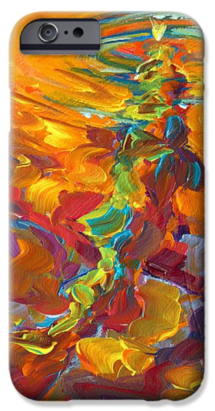 Trout Paintings iPhone Cases - Topwater Trout Abstract Tour Study iPhone Case by Mike Savlen