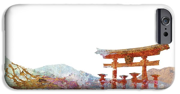Egypt iPhone Cases - Torii Gate Colorsplash iPhone Case by Aimee Stewart