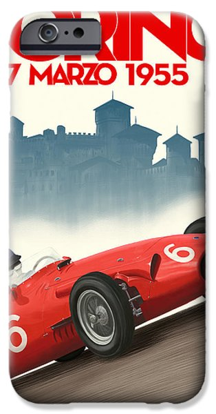 Turin Digital Art iPhone Cases - Torino Grand Prix 1955 iPhone Case by Nomad Art And  Design