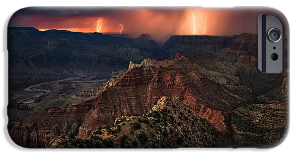 Torment iPhone Cases - Torment Over the Canyon iPhone Case by Adam  Schallau