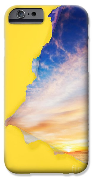 Torn paper sunrise iPhone Case by Jo Ann Snover