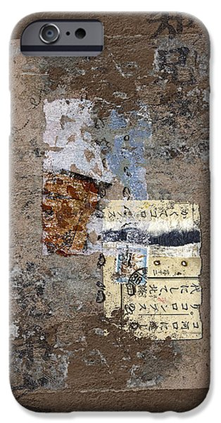 Torn iPhone Cases - Torn Papers on Wall iPhone Case by Carol Leigh