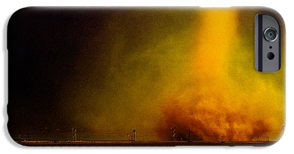 Power iPhone Cases - Tornado In A Field iPhone Case by Panoramic Images