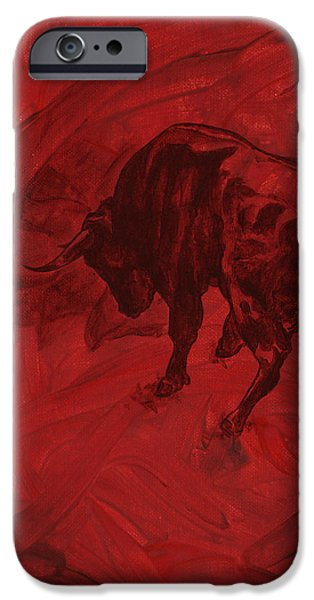 Recently Sold -  - Red Abstract iPhone Cases - Toro painting iPhone Case by Konni Jensen