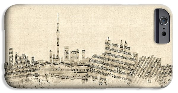 Sheets iPhone Cases - Toronto Canada Skyline Sheet Music Cityscape iPhone Case by Michael Tompsett