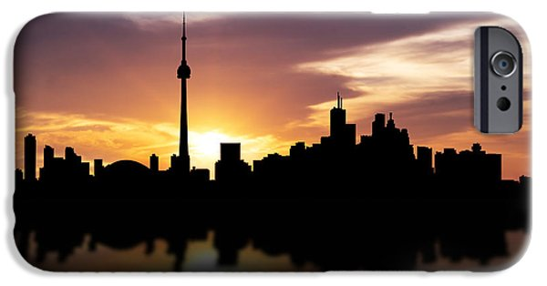 Skyscraper Mixed Media iPhone Cases - Toronto Canada Sunset Skyline  iPhone Case by Aged Pixel