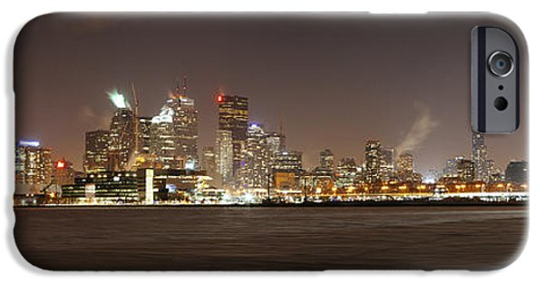 Snowy Night iPhone Cases - Toronto Harbour on a Winters Night iPhone Case by Laura Tucker