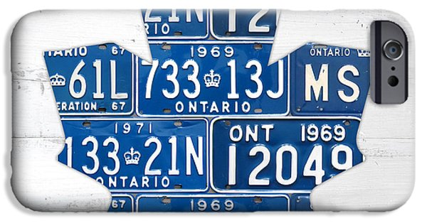 Hockey Mixed Media iPhone Cases - Toronto Maple Leafs Hockey Team Retro Logo Vintage Recycled Ontario Canada License Plate Art iPhone Case by Design Turnpike