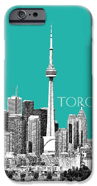 Pen And Ink iPhone Cases - Toronto Skyline - Teal iPhone Case by DB Artist