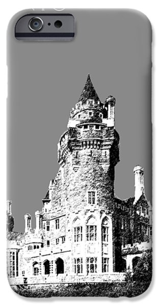 Pen And Ink iPhone Cases - Toronto Skyline Casa Loma - Pewter iPhone Case by DB Artist