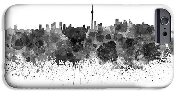 Toronto Paintings iPhone Cases - Toronto skyline in black watercolor on white background iPhone Case by Pablo Romero