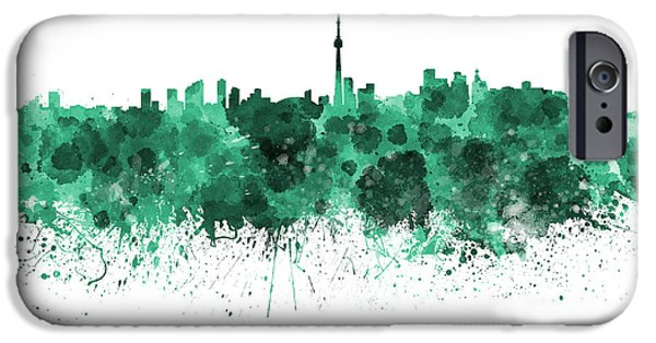 Toronto Paintings iPhone Cases - Toronto skyline in green watercolor on white background iPhone Case by Pablo Romero