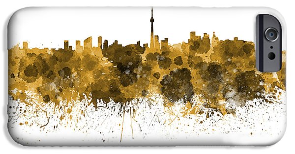 Toronto Paintings iPhone Cases - Toronto skyline in orange watercolor on white background iPhone Case by Pablo Romero