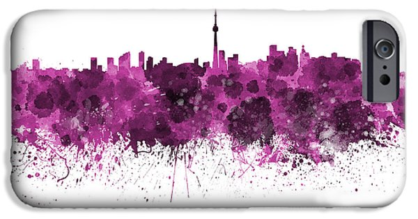 Toronto Paintings iPhone Cases - Toronto skyline in pink watercolor on white background iPhone Case by Pablo Romero