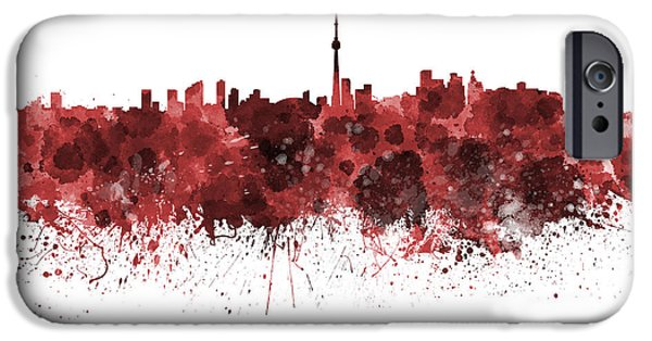 Toronto Paintings iPhone Cases - Toronto skyline in red watercolor on white background iPhone Case by Pablo Romero