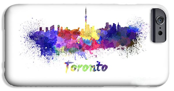 Toronto Paintings iPhone Cases - Toronto skyline in watercolor iPhone Case by Pablo Romero