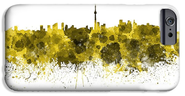 Toronto Paintings iPhone Cases - Toronto skyline in yellow watercolor on white background iPhone Case by Pablo Romero