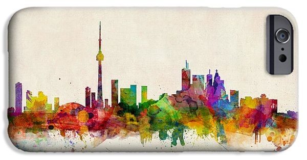 Watercolor iPhone Cases - Toronto Skyline iPhone Case by Michael Tompsett