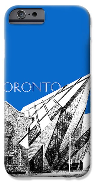 Pen And Ink iPhone Cases - Toronto Skyline Royal Ontario Museum - Blue iPhone Case by DB Artist