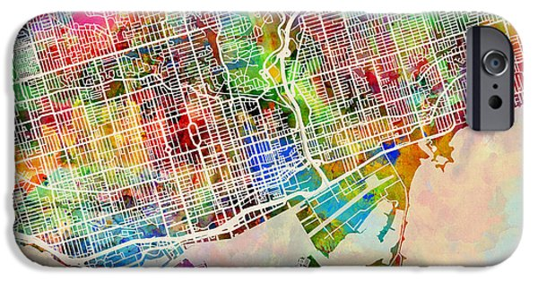 Canada Map iPhone Cases - Toronto Street Map iPhone Case by Michael Tompsett