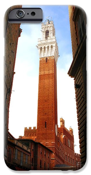Piazzo iPhone Cases - Torre del Mangia Siena iPhone Case by Mike Nellums