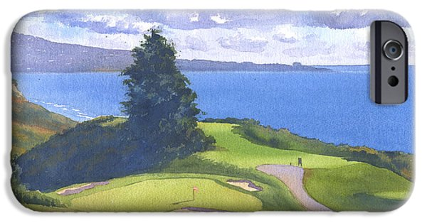 Pine Paintings iPhone Cases - Torrey Pines Golf Course 1 iPhone Case by Mary Helmreich