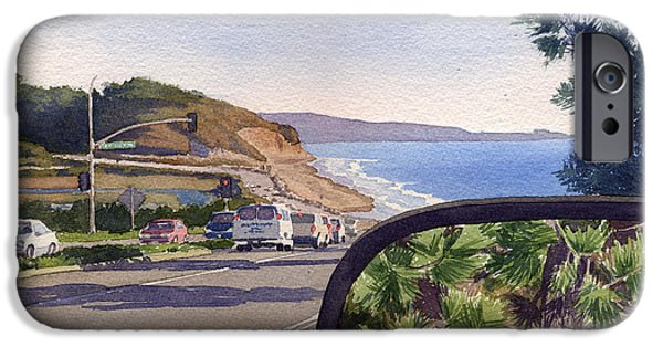 Pines Paintings iPhone Cases - Torrey Pines in Sideview Mirror iPhone Case by Mary Helmreich